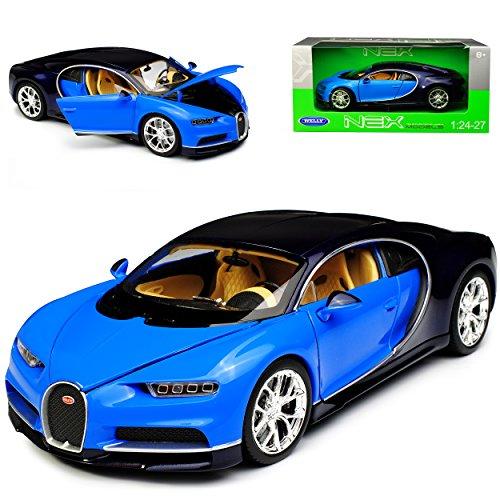 Welly Bugatti Chiron Coupe Blau Ab 2016 1/24 Modell Auto mit individiuellem Wunschkennzeichen