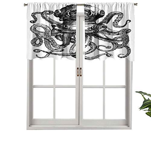 Hiiiman Cenefas de cortina con bolsillo para barra, estilo vintage, casco de buceo con tentáculos de animales marinos, juego de 2, 137 x 61 cm, aislamiento térmico para sala de estar