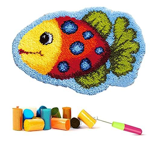ZYUN Pez Tropical Latch Hook Kit Cushion Cover DIY Pez Tropical Latch Hook Rug Kits Kit Ganchillo Alfombras para Adultos Alfombras Crochet Bordados en Punto Cruz