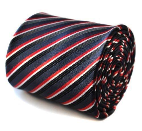 Cravate Frederick Thomas bleu marine, noir et rouge rayé avec édition limitée motif pole dancer à l'arrière