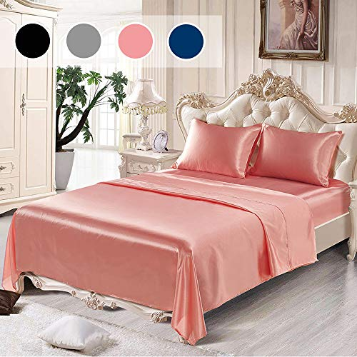 ANMINY Bed Sheet Set Imitated Satin Silk Fitted Flat Sheets Pillowcases 4 Piece Sets - Silky Soft, Deep Pockets,...