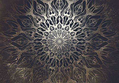 decomonkey Fototapete selbstklebend Mandala Modern 343x256 cm XL Selbstklebende Tapeten Wand Fototapeten Tapete Wandtapete klebend Klebefolie Orient Zen Ornament schwarz gold