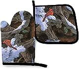 N\A Snow Winter Tree Bird Cardinal Kitchen Oven Mitt Pot Holder Set, Resistencia al Calor Antideslizante Soportes para Guantes para Barbacoa Cocinar Hornear Parrilla Microondas