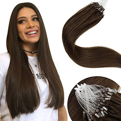 LaaVoo Easy Loop Hair Extensions Echthaar Dunkelbraun Haarverlangerung mit Microrings Unsicitbar 1G 50S Remy Ring Human Hair Extensions 50g/pack 18zoll/45cm Micro Pre-bonded Echthaar