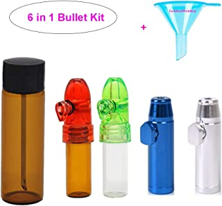 5 Pack Snuff Bullets with DmHirmg Micro Funnel Snuff Snorter Dispenser Bottle(5Pack)