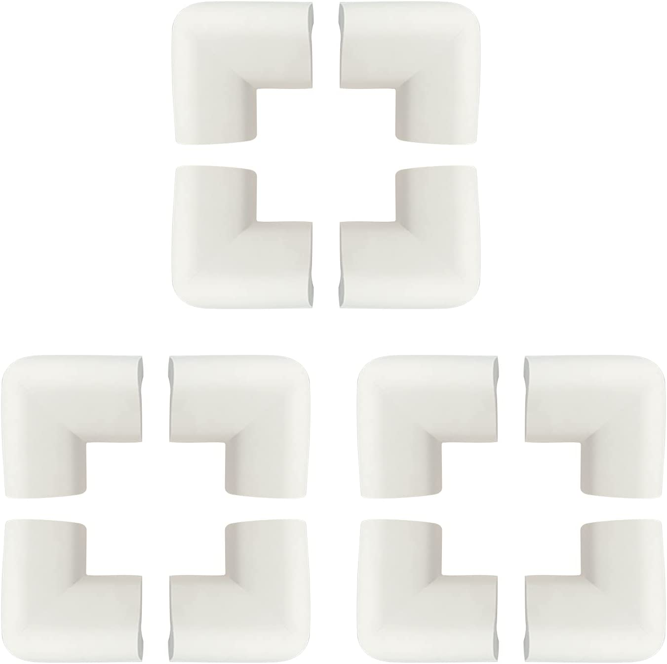 ZUER 12Pcs Baby Proofing Edge Corner,Soft High Resilient Table Bumper Guard,Use for Tea Table,Fireplace,Table Point,Cabinet,Drawer Point,White