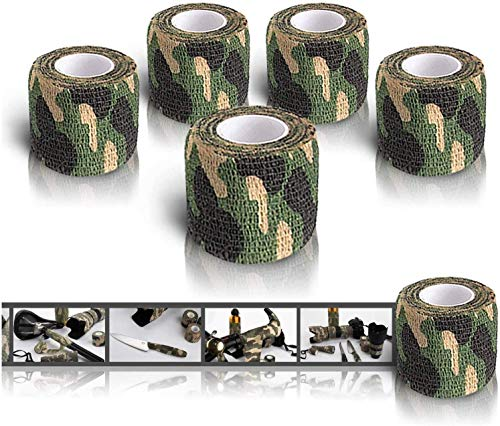 auvstar Camo Wrap Tape, Nastro militare mimetico dell'esercito, Cling per fucili da caccia Camping da caccia, Benda adesiva protettiva per bendaggio elastico, confezione da 5 (giungla)