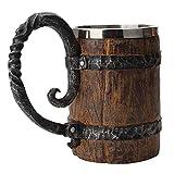 ZEXIN Big 550ml Handmade Beer Mug Drinking Barrel Simulation Crude Stainless Steel Beer Cup Wood Mug Wine Tumbler Drinkware