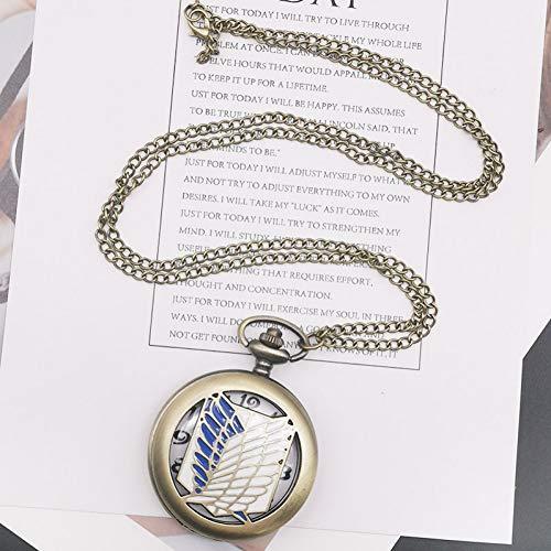 ERDING Reloj Bolsillo,Bronce Antiguo ala Pluma Hueco Tallado Hombres Mujeres Reloj de Bolsillo de Cuarzo Moda Reloj Unisex Reloj para Regalo