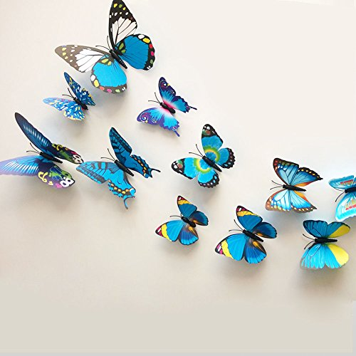 12 Pieces 3D Butterfly Stickrs Fashion Design DIY Wall Decoration House Decoration Babyroom Decoration-BLUE
