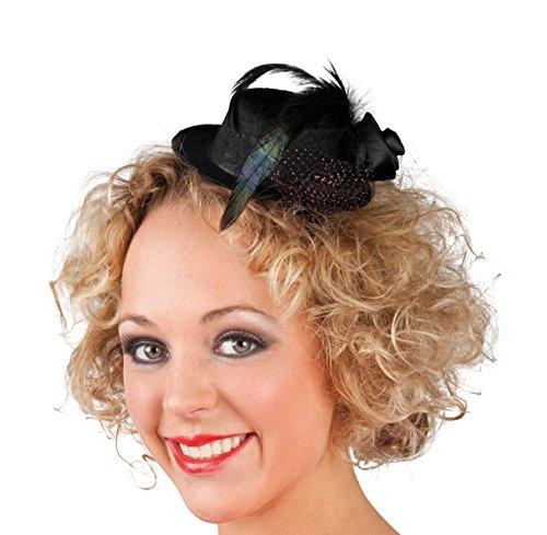 Boland 76312 - Mini-Hut Nicolette, Schwarz, Haarreif mit Hut, Federn, Blüte, Kopfschmuck, Kostüm, Karneval, Mottoparty