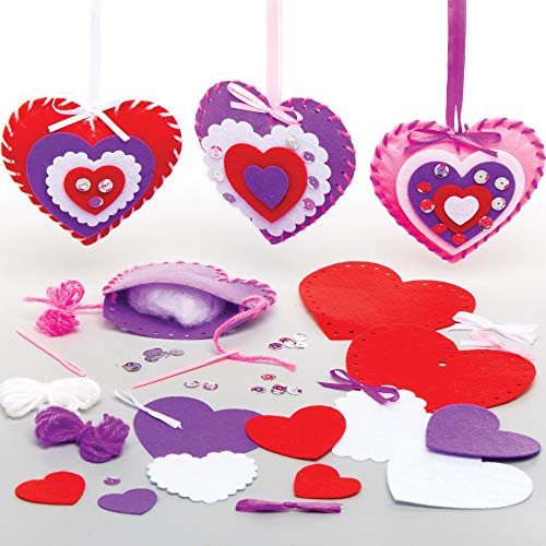 Baker Ross AT355 Heart Ornament Sewing Kits - Pack of 3, Creative Art And Craft Supplies For Kids To Make And Decorate