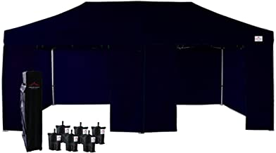 UNIQUECANOPY 10'x20' Ez Pop Up Canopy Tent Commercial Instant Shelter, with 4 Removable Zippered Side Walls and Heavy Duty Roller Bag, 6 Sand Bags Navy Blue