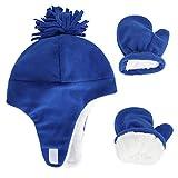 LACOFIA Cappellini Beanie e Manopole in Caldo Pile per Neonato Berretto da Pilota Invernale con Paraorecchie e Guanto da Bambino Blu 1-3 Anni