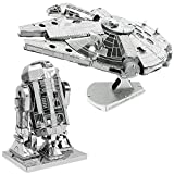 Fascinations Metal Earth 3D Model Kits Star Wars Set of 2 Millennium Falcon & R2-D2