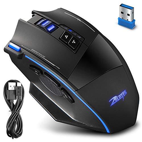 zelotes AFUNTA Wireless und Wired Gaming Maus, F15 Professionelle 2500 DPI einstellbar 9 Tasten Led Optische Computermaus für PC Laptop Desktop Notebook Mac Pro Gamer