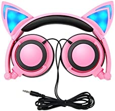 Cat Ear Headphones, GOGOING Kids Headphones with LED Flash Wired Mode, Foldable Game Headset fit Smartphones iPhone, Android Mobile Phone,Tablet PC, Computer Exc(Pink)