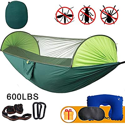 Anxin Camping Hammock with Mosquito Bug Netting,Packable Hammock with Tree Straps and Carabiners,Parachute Nylon Hanging Swing Hammock for Backpacking, Survival, Travel & More(Single & Double)-Green