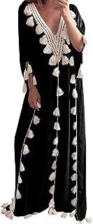 Lelili Women Bohemia Long Maxi Dress Ethnic Style Tassel Lace Hollow Half Sleeve V Neck Floor Length Dress