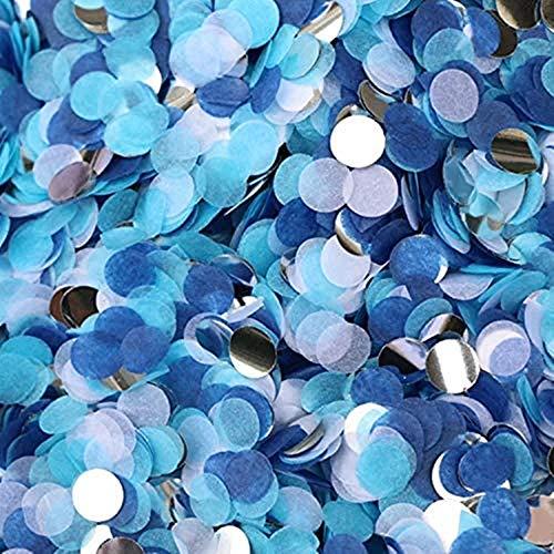 Confeti de Papel,5000 Piezas Redondo Papel de Seda de Confeti de Mesa Blanco Azul para Decoración de Fista de Boda Cumpleaños 1 Pulgada