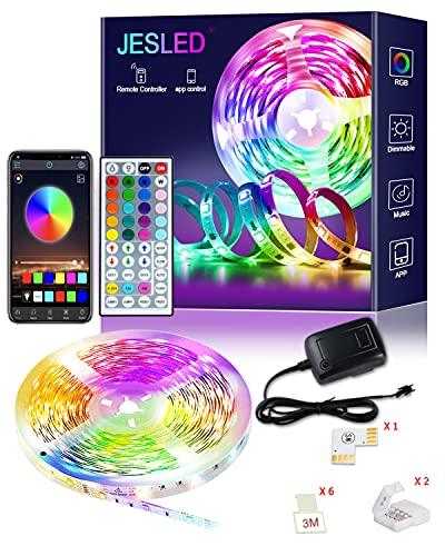 Tiras LED, JESLED 6M Bluetooth Luces de Tiras LED para Habitación, Control de APP y Remoto de 44 Botones, Tiras LED RGB 5050 Música para Hogar, Bar, Fiesta, Restaurante