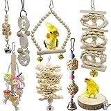 Chikanb Juguetes de Loro de Madera, 8 Piezas Juguetes de Jaula de Pájaros, Jaula Pajaros Bite Toy para Periquitos, Cockatiels, Cacatúas, Conures, Pinzones, Pájaros del Amor, Agapornis