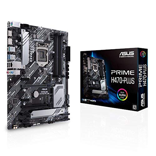 ASUS Prime H470-PLUS Mainboard Sockel 1200 (ATX, 8 Leistungsstufen, HDMI, DisplayPort, SATA 6Gbit/s, 1Gbit/s-Ethernet, USB 3.2 Gen 2 Typ-C, Thunderbolt -3-Unterstützung, Aura-Sync)