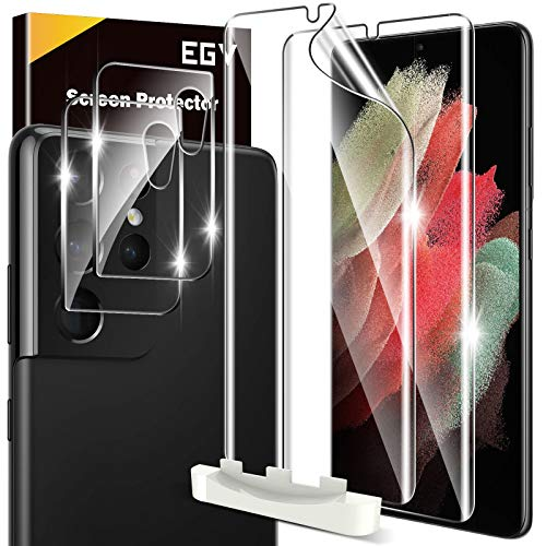 4 Pack EGV 2pcs Flexible TPU Screen Protector + 2pcs Tempered Glass Camera Lens Protector Compatible with Samsung Galaxy S21 Ultra, Positioning Tool, Support Fingerprint, Bubble Free
