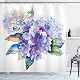 Ambesonne Watercolor Shower Curtain, Delicate Hydrangea Flowers Blooming Botanical Arrangement Wedding Inspired, Cloth Fabric Bathroom Decor Set with Hooks, 70' Long, Violet Blue