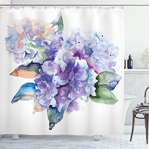 Ambesonne Watercolor Shower Curtain, Delicate Hydrangea Flowers Blooming Botanical Arrangement Wedding Inspired, Cloth Fabric Bathroom Decor Set with Hooks, 75' Long, Violet Blue