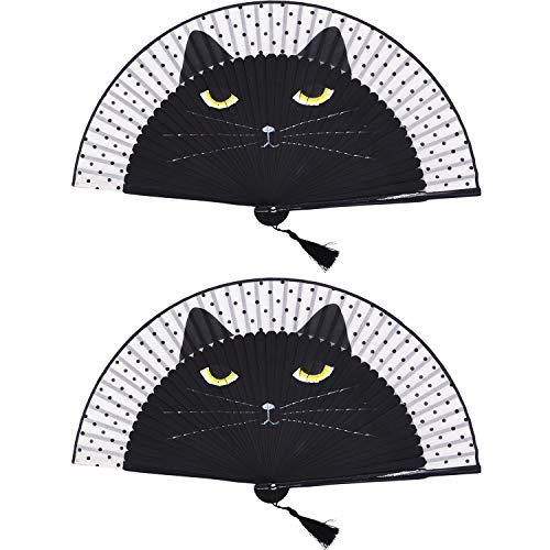 Wisolt Opvouwbare zijdehandventilator, 2 stuks, mooie opgevouwen handventilator van papier met zwarte kat voor dansrekwisieten, feestartikelen, bruiloften en huishoudtextiel