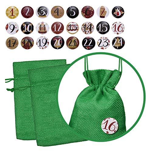 Calendario de Adviento Set de 24 bolsas de yute con 24 números e insignias para llenar para la temporada de Adviento - Verde