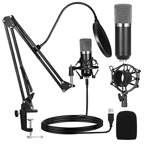 Ankuka USB Streaming Podcast PC Microphone, Professional Studio Cardioid Condenser Mic Kit with Sound Card Boom Arm Shock Mount Pop Filter, for Skype Youtuber Gaming Recording