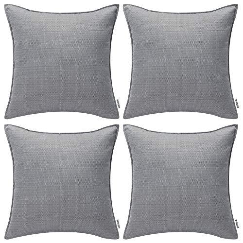 MIULEE Packung von 4 wasserdichte Sofa Kissenbezug Outdoor Wassersäule Polyester Kissenhülle im freien Set Kissen Fall für Sofa Schlafzimmer Auto 18x18Inch 45x45cm Grau
