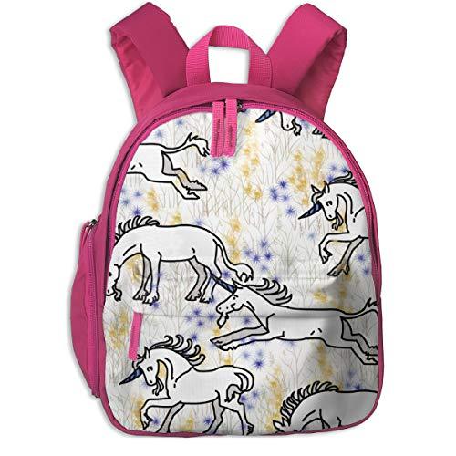 Kinderrucksack mädchen,Unicorns On Snowy Fairy Flower Field_4868 - Eclectic_House, Für Kinderschulen Oxfordstoff (pink)