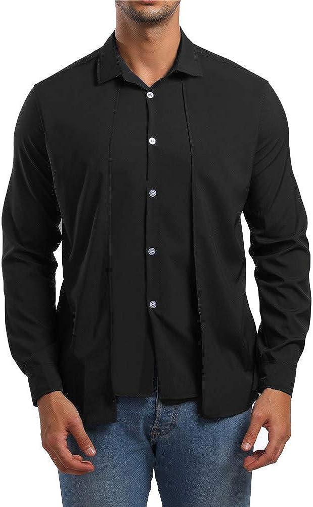MODOQO Men's Long Sleeve Button Down Casual Regular Fit Dress Shirt
