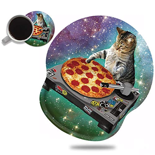 Ergonomic Mouse Pad Wrist Support and Cute Coffee Coaster, Funny Space Cat and Pizza Design Wrist Rest Mousepad, Pain Relief Wrist Mouse Pads for Computer Laptop Home Office