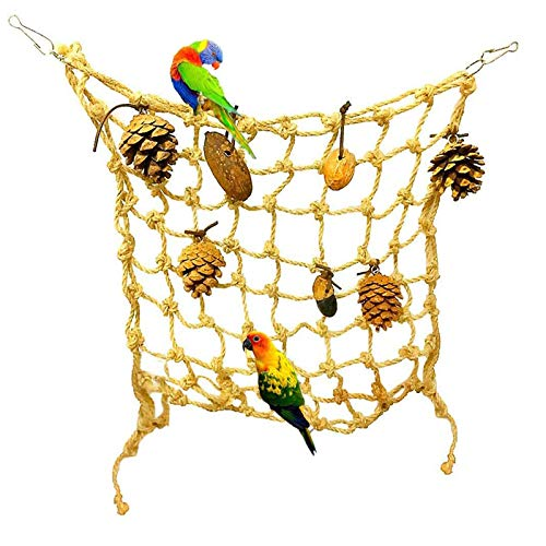 Tfwadmx Bird Climbing Rope Net, Large - Rat Swing Hammock Hanging Perch Rope Ladder Chew Toys for Budgies Macaw Cockatoo Budgie African Grey Parakeet Hamster Rat Ferret