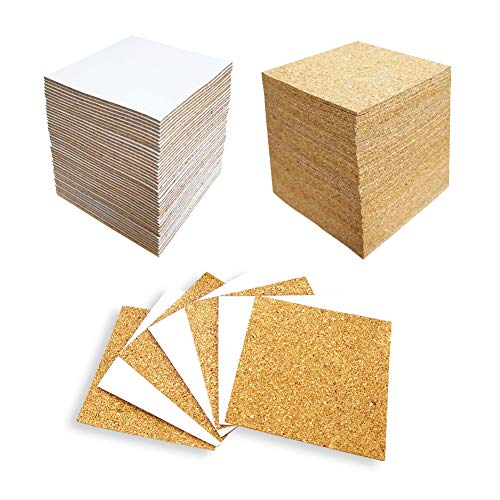 Hangnuo 100 Pack Self-Adhesive Cork Squares for Tile Coasters, 4 X 4 Inches Cork Backing Sheets Mini Tiles Board for DIY Crafts