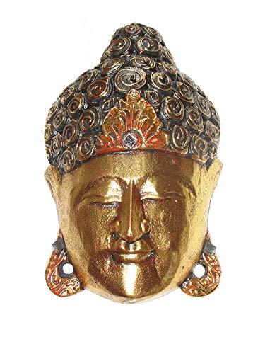 Buddha - Maske Gold 25 cm Holzmaske Wandmaske Buddhakopf Gesichtmaske