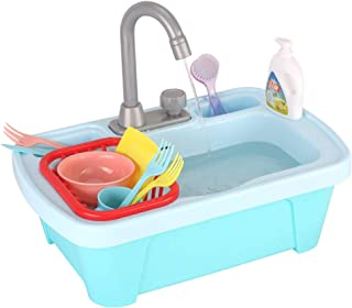 JoyGrow Pretend Play Kitchen Sink Toys ,Electric Dishwasher with Automatic Running Water System Wash Up Kitchen Toys for Kids Boys and Girls