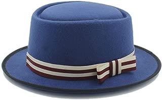 Women's Flat Homburg Fedpra Hat Winter Autumn Elegant Hat Wool Boater Hat with Punk Belt Tocados Invitada Boda (Color : Blue, Size : 56-58CM)