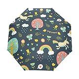 Emoya - Paraguas de Viaje con diseño de Unicornios, arcoíris, árboles, pájaros, Mariposas, Nubes, toldo Resistente al Viento, Apertura y Cierre automático, Compacto