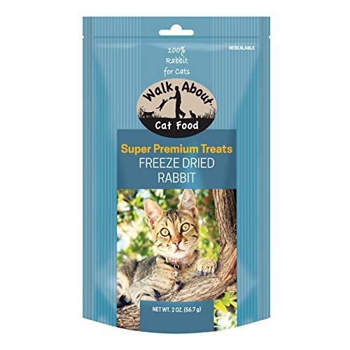 Walk About Pet, WA20006, Super Premium Cat Treats, Grain-Free, Gluten-Free, Single Source Protein, Freeze Dried Rabbit, Resealable Pouch, 2-Ounces