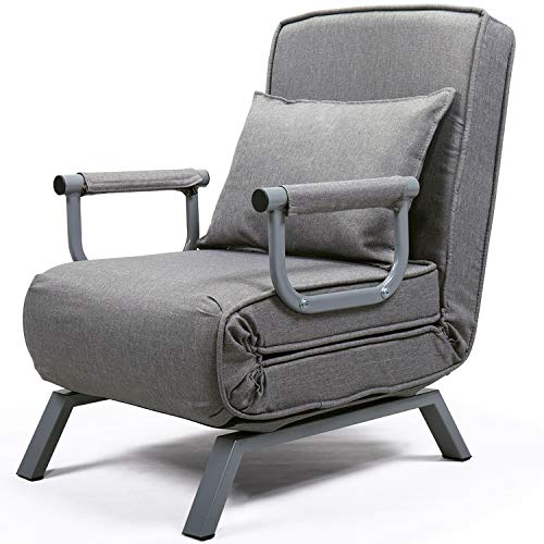 Convertible Sofa Chair Bed Sleeper, 5 Position Recliner Single Folding Arm Chair Sleeper with Pillow, Full Padded Lounger Couch Bed with Detachable Armrest Cover, Grey