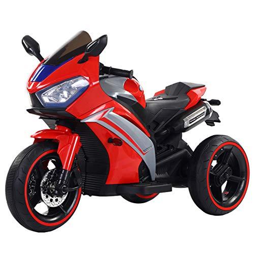 Motocicleta Eléctrica para Niños, Triciclo De Control Remoto Recargable, Carga Máxima De 50 Kg, Edad Adecuada De 2 A 8 Años,Rojo