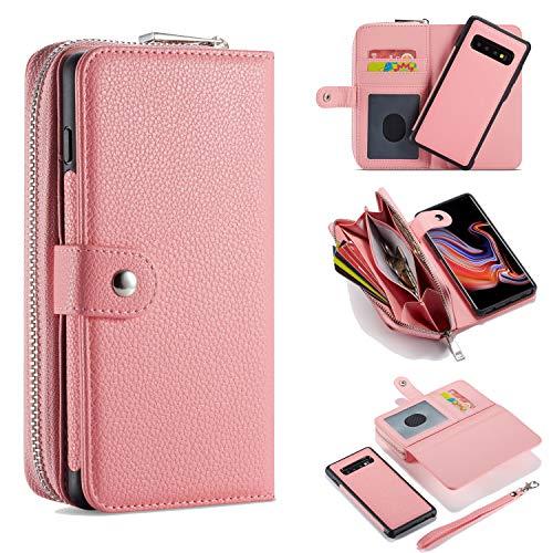 for Galaxy S20 Hülle Schutzhülle Ledertasche Wallet Handyhülle Geldbörse mit Grosse Kapazität Reißverschluss,Kartenfächer und Abnehmbar Magnet Handy Schutzhülle für Samsung Galaxy S20 2020 - Rose