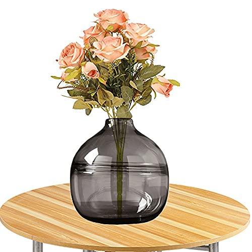 LXLAMP Jarrones Cristal Grandes, jarrones Decorativos de Suelo jarrones Decorativos Jarrones de Flores, Elegante Decoración para la Decoración del Escritorio - Altura 20 cm (Color : Gray)