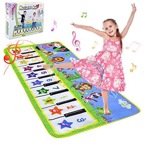 NEWSTYLE Alfombra Musical,Alfombra Piano para Niños Alfombrilla de Baile Teclado Estera de Alfombra Touch Juego Musical Portátil Educativo Musical Tapete,Juguete Electrónico Regalos,135 x 59 cm