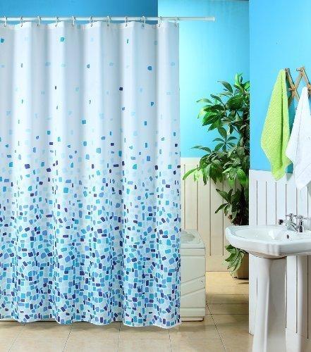 KAV Polyester stof douchegordijn en schimmelwerende gordijn 180 x 180 cm (71 x 71 inch) tegels met patroon (Choose Colour from Drop Down menu) (blauw mozaïek, 1), maatregelen